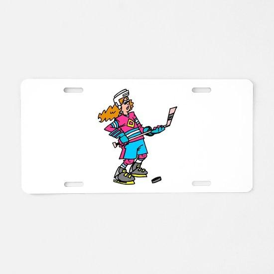 Hockey Chick Aluminum License Plate