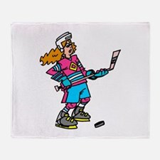 Hockey Chick Throw Blanket
