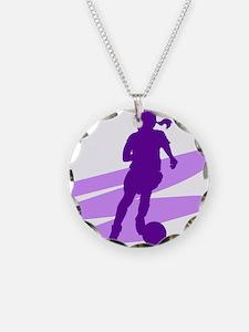 Purple Soccer Girl Necklace