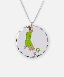 Lime Green Soccer Girl Necklace