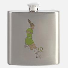 Lime Green Soccer Girl Flask