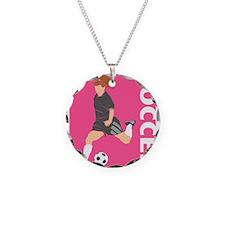 Pink Soccer Girl Logo Necklace