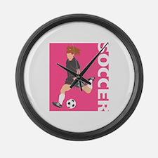 Pink Soccer Girl Logo Large Wall Clock