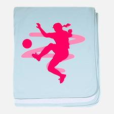 Pink Soccer Girl Logo baby blanket