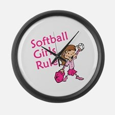 Softball girls Rule Large Wall Clock