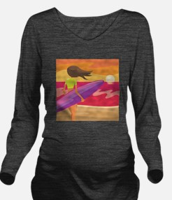 Surf Scape Long Sleeve Maternity T-Shirt