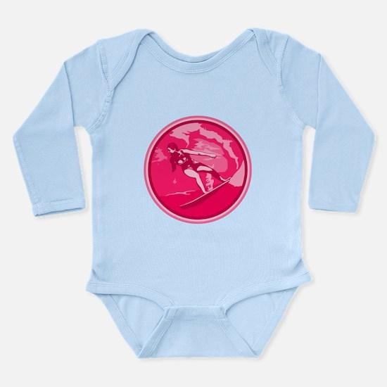Pink Surf Logo Long Sleeve Infant Bodysuit