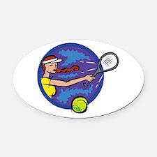 Classic Ladies Tennis Oval Car Magnet