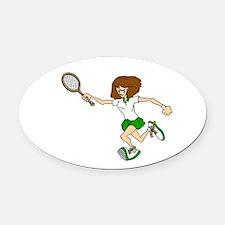 Green Tennis Player Oval Car Magnet