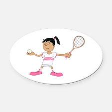 Tennis Girl Oval Car Magnet