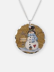 Folk Art Snowman Necklace