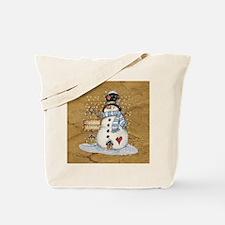 Folk Art Snowman Tote Bag