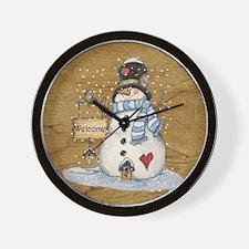 Folk Art Snowman Wall Clock