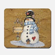 Folk Art Snowman Mousepad
