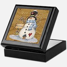 Folk Art Snowman Keepsake Box