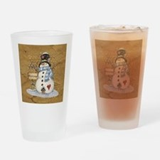 Folk Art Snowman Drinking Glass