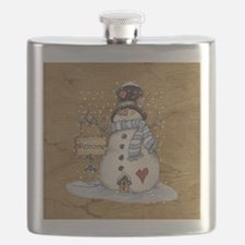 Folk Art Snowman Flask
