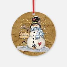 Folk Art Snowman Round Ornament