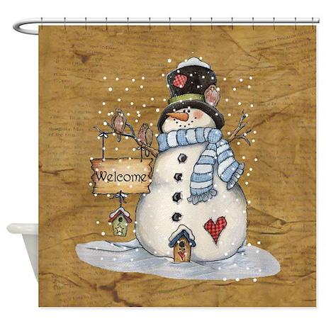 Nice Folk Art Snowman Shower Curtain
