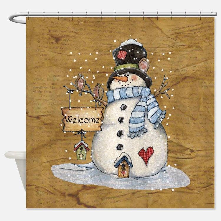 Folk Art Snowman Shower Curtain