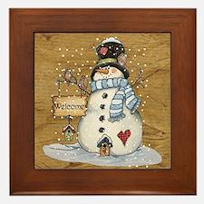 Folk Art Snowman Framed Tile