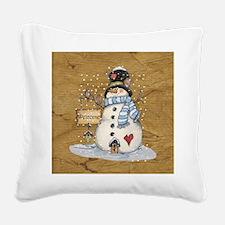 Folk Art Snowman Square Canvas Pillow