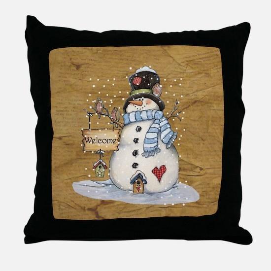 Folk Art Snowman Throw Pillow