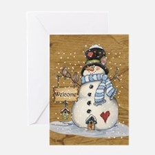 Folk Art Snowman Greeting Cards