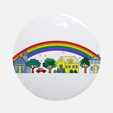 Colorful Rainbow Over a Charming Sm Round Ornament