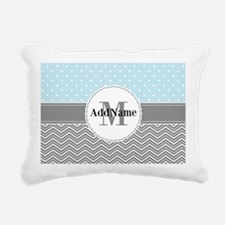Blue Gray Dots Chevron P Rectangular Canvas Pillow