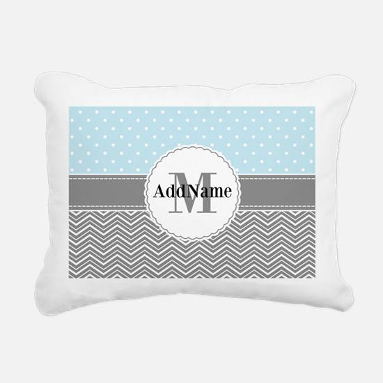 Blue Gray Dots Chevron P Rectangular Canvas Pillow