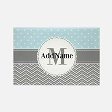 Blue Gray Dots Chevron Rectangle Magnet (10 pack)