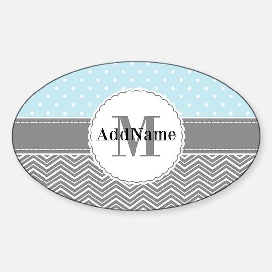 Blue Gray Dots Chevron Personalized Sticker (Oval)