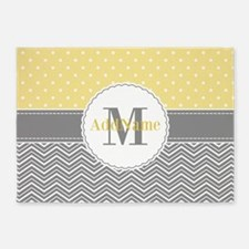 Monogram Chevron Polka Dots 5'x7'Area Rug