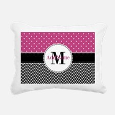 Pink Polka Dots Black Ch Rectangular Canvas Pillow