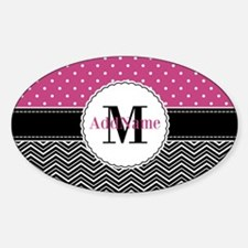 Pink Polka Dots Black Chevron Monog Decal