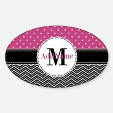 Pink Polka Dots Black Chevron Monog Sticker (Oval)