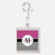 Pink Polka Dots Black Chevron Silver Square Charm