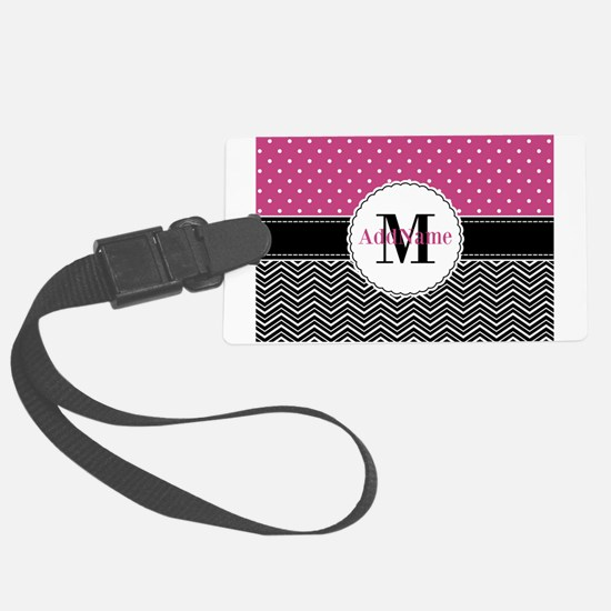 Pink Polka Dots Black Chevron Mo Large Luggage Tag