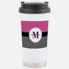 Pink Polka Dots Black C Stainless Steel Travel Mug