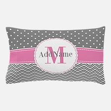 Gray Chevron Polka Dots Pink Monogram Pillow Case