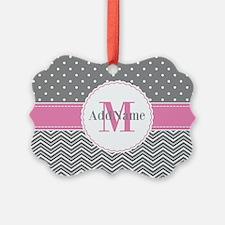 Gray Chevron Polka Dots Pink Mono Ornament