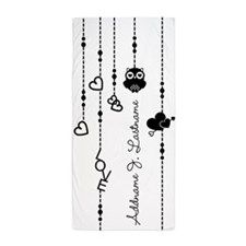 Black and White Hanging Hearts Persona Beach Towel