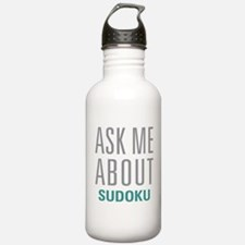 Ask Me About Sudoku Water Bottle