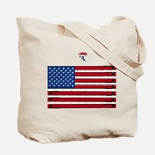 Fly Fishing Red White and Blue Fly Tote Bag