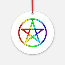 Round Ornament- Rainbow Pentacle