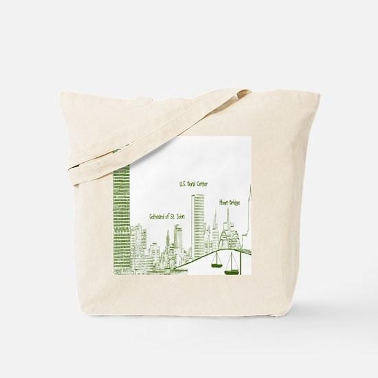 Milwaukee Skyline Green Tote Bag