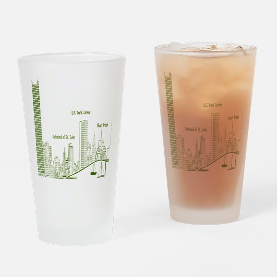 Milwaukee Skyline Green Drinking Glass