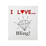 I Love Bling Throw Blanket
