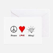 Peace Love Bling Greeting Card